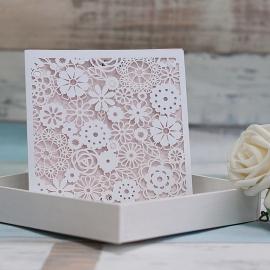 Partecipazione nozze taglio laser Tasca fiori