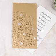 Partecipazione nozze taglio laser Tasca fiori rettangolare
