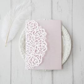 Partecipazione nozze Tasca tre ante rosa
